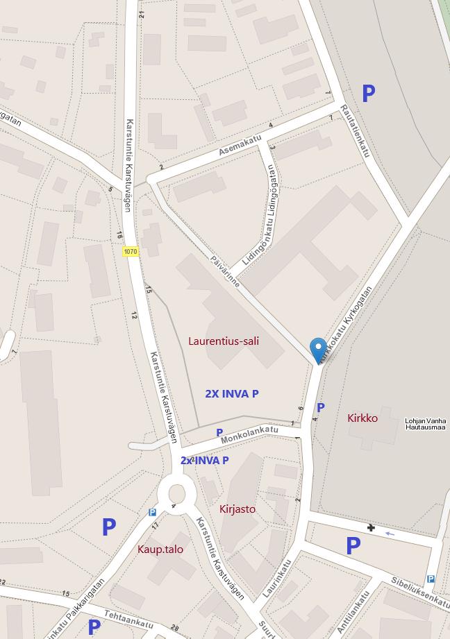 Kartta parkkialueet